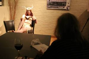 At Dr. Sketchy in my reindeer costume. Photo courtesy Sabrina Hornung